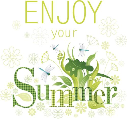Enjoy Your Summer graphic with plants and dragonflies