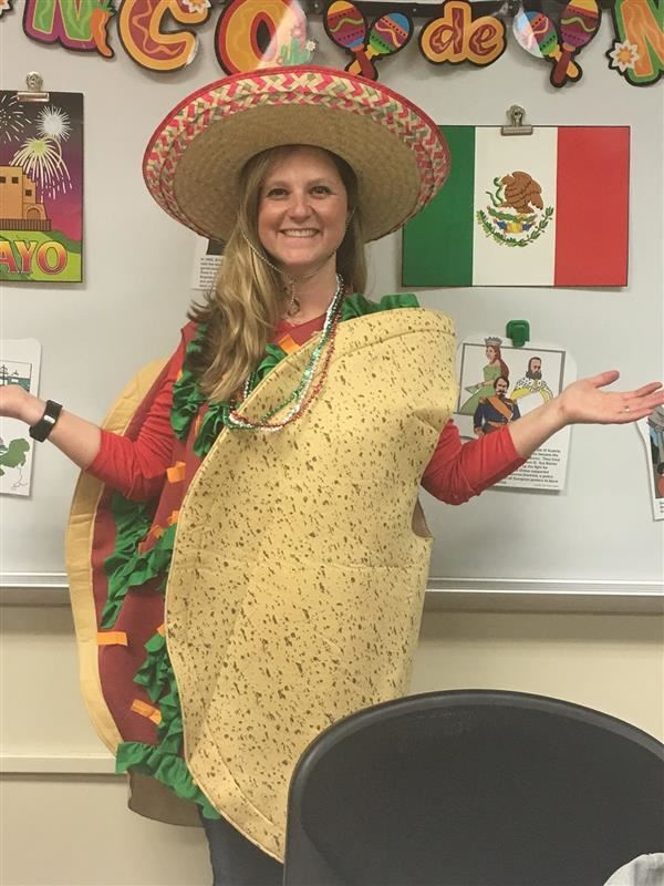 Mrs. Olexenko in a taco costume