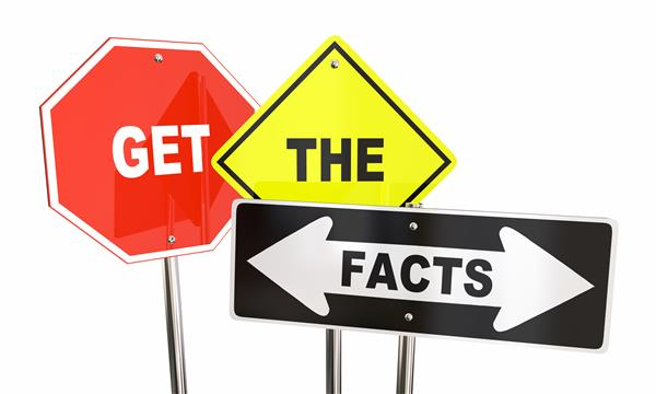 Get the facts graphic with directional signs