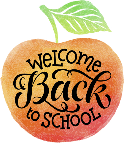 Welcome back to school with apple drawing