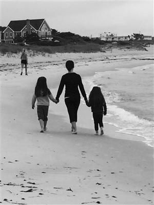 Walking on the beach in Cape Cod.