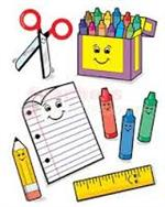 Image of various colorful school supplies